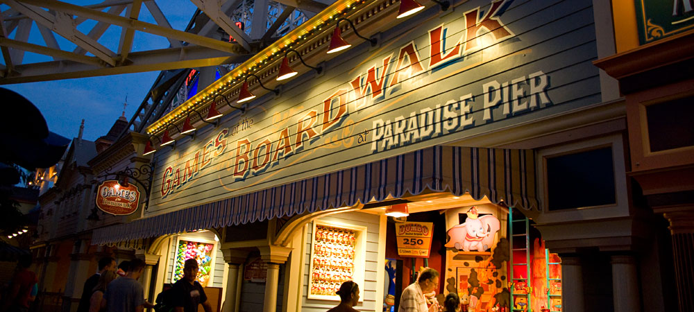 Games of the Boardwalk at Paradise Pier Sign