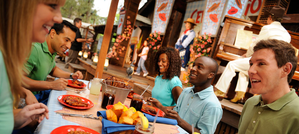 Guests Eating at Big Thunder Ranch Barbecue