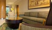 Mid-20th-century modern furnishings decorate the lobby area.