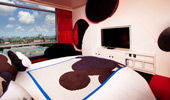 Furniture and decorative elements make the shape of Mickey's head.