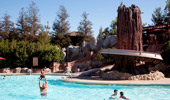Wide shot with the water slide and people playing in the Redwood Pool.
