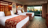 2 queen-size beds and luxurious surroundings