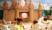 Inside Disney's Paradise Pier Hotel's Paradise Theater, there's a sandcastle TV set.